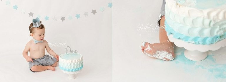 blue, white, and grey cake smash for little boy by Rochel Konik Photography