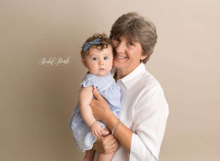 grandmother and granddaughter at 6 month milestone session with Rochel Konik Photography