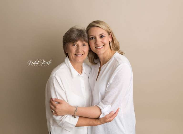 mother and grandmother at milestone session with Rochel Konik Photography